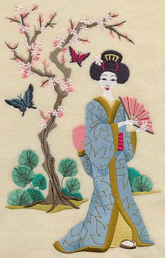 A geisha holds a fan beneath the cherry blossoms. Create an elegant composition by pairing with the Geisha and Butterflies - Butterflies design! Sashiko Embroidery, Japanese Embroidery, Embroidery Stitches, Machine Embroidery Patterns, Embroidery Kits, Butterfly Quilt, Oriental, Embroidered Towels, Cross Stitch Art