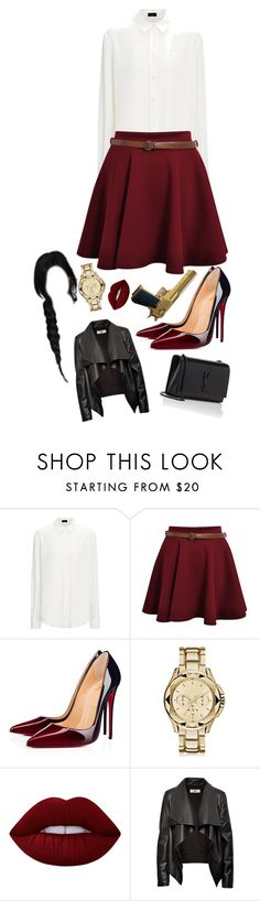 """""""Untitled #898"""" by kellylaeticia ❤ liked on Polyvore featuring Christian Louboutin, Karl Lagerfeld, Lime Crime, HIDE and Yves Saint Laurent"""