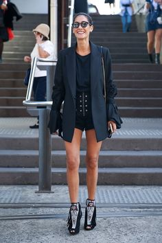 Pin for Later: 73 Styling Hacks to Steal From the Street Style Down Under Short Shorts Look Chic When Paired With a Longer Blazer