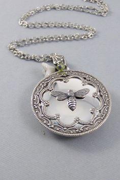 Queen BeeBirthstoneBee NecklaceBee Locket Antiqued | Etsy Silver Lockets, Silver Charms, Bee Necklace, Pendant Necklace, Valley Girls, Vintage Jewelry, Unique Jewelry, Queen Bees, Dear Santa
