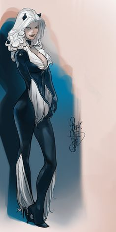 Stunning Black Cat and Spider-Woman pieces by Otto Schmidt! Marvel Dc, Marvel Comics, Marvel Women, Marvel Girls, Comics Girls, Marvel Heroes, Captain Marvel, Spiderman Black Cat, Black Cat Marvel