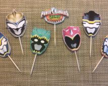 Power Rangers Dino Charge cupcake toppers or bag seals (24 count)