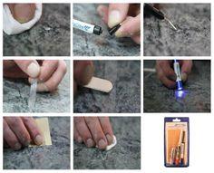 Reparatieset natuursteen is de ideale Proffill reparatie set voor de reparatie van splinters, diepe krassen, putjes en inkepingen. Te gebruiken op aanrechtbladen, keukenbladen, werkbladen, vloeren, vensterbanken en tegels.   http://www.beltraco.nl/proffill-products/natuursteen/stn1gt-reparatieset-voor-natuurstenen-vloerenaanrechtbladen-1-gr.htm