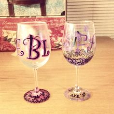 First wine glasses my mom and I decorated :) More to come!