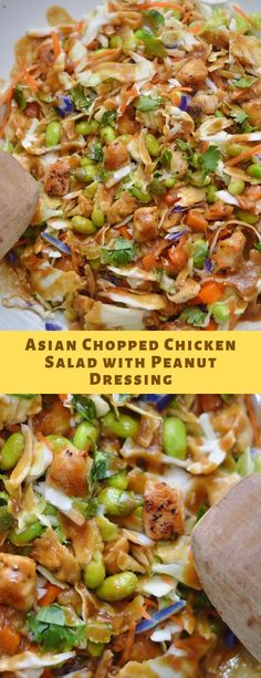 Asian Chopped Chicken Salad with Peanut Dressing – Somanyrecipes - main course recipes - Salat Lunch Recipes, Dinner Recipes, Cooking Recipes, Healthy Recipes, Peanut Recipes, Meal Recipes, Healthy Snacks, Breaded Chicken Cutlets, Chicken Salad Recipes
