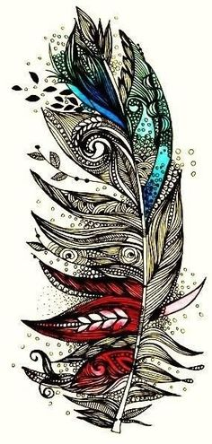 Nuanez Nuanez Nuanez Boskee Looks Like Something You Could Draw :) Some Cool Framed Drawing Would Be Pretty Awesome a tatoo Feather Tattoo Design, Feather Art, Feather Drawing, Tribal Feather, Feather Sketch, Mandala Feather, Mandala Wolf, Peacock Feathers, Feather Painting