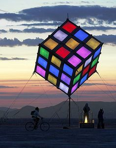 ☆ Burning Man ☆ The original (3×3×3) Rubik's Cube has eight corners and twelve edges. There are 8! (40,320) ways to arrange the corner cubes. Seven can be oriented independently, and the orientation of the eighth depends on the preceding seven, giving 37 (2,187) possibilities.