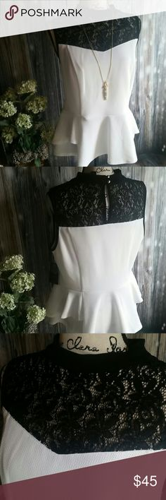 """NWT, Thalia Sodi, Tijuana,  pleplum top with lace Partially lined sleeveless top. High neck with balck lace yoke. Semi sweetheart shape in front.  Key hole in back with 2 gold color button closures. White material is textured as noted in the 4th picture. Sewn in darts/pleats, 2 layer ruffle like pleplum. Figure flattering. Color is noted to be """"washed white"""". Material does stretch some. Super adorable!  No damage or flaws. Thalia Sodi Tops"""