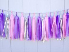 Pretty Princess Tissue Paper Tassel Garland - Party - Wedding - Baby Shower - Nursery - Childrens room