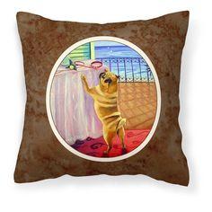 Carolines Treasures Helping Himself Fawn Pug Decorative Outdoor Pillow - 7027PW1414