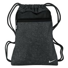 Nike Golf- Sport Gym Sack III, Black/Silver/Black Polyester Construction Shoulder straps used for drawstring closure Front pocket with zip closure Mesh panel helps with ventilation Golf Shoe Bag, Golf Shoes, Golf Bags, Nike Gym Bag, Nike Bags, Sack Bag, Calf Leather, Black Nikes, Drawstring Backpack