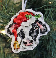 Handmade Cow Cross Stitch Christmas Ornament by IttyBrittyNeedle