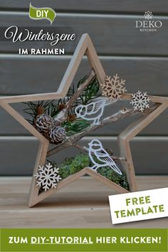 DIY: pretty Christmas decoration with winter scenes in star frames- Star wreath - Outside Christmas Decorations, Christmas Wood Crafts, Wooden Christmas Trees, Diy Christmas Gifts, Christmas Art, Christmas Projects, Holiday Crafts, Vintage Christmas, Christmas Holidays