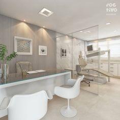 Consultório Odontológico . Branco + Nude + Bronze Essa foi a paleta de cores escolhida para esse consultório pequeno, porém funcional e…