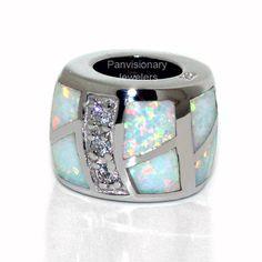 White Opal CZ 925 Sterling Silver European Charm Bead for Bracelet | eBay