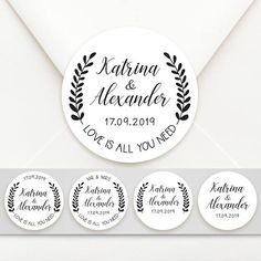 Personalised Circle Modern Design Wedding Bomboniere Sticker