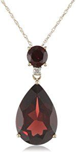 """10k Yellow Gold Garnet and Diamond Pendant Necklace, 18""""  http://electmejewellery.com/jewelry/necklaces/pendants/10k-yellow-gold-garnet-and-diamond-pendant-necklace-18-com/"""