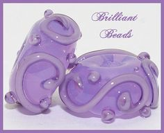 Translucent Violet Scrollwork Glass Beads Handmade by Gillianbeads, $4.50
