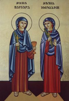 St Barbara & St Juliana her friend. Finally a Coptic icon where St Juliana isn't depicted as a tiny, insignificant person in the background... #justsaying :)