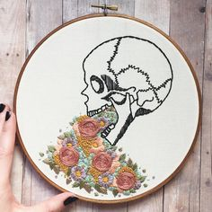Human skull & floral hand embroidery hoop art. 8 inch hand stained hoop. Colorful flower details. Human anatomy. Home decor.