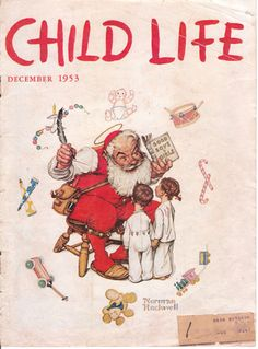 Vintage norman rockwell child life christmas magazine cover