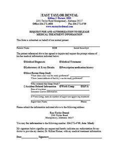 Medical Records Release Form For Sleep Apnea  Medical Templates