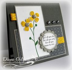 handmade card for  Curtain Call Color Challenge: {ACT 26} ... two grays, white and a pop of dark yellow ... colors  work beautifully ... dramatic look ... sweet flowers as focal point ... sentiment in a scallop circle frame ... gray pearls ... polka dot ribbon ... like this card!! ... Stampin' Up!