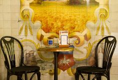 Illustrated wall mural artwork to resemble traditional French glazed tiles for the Grey Goose Vodka, Boulangerie Francois pop up bakery and bar.  Photographs courtesy of NP+Co.