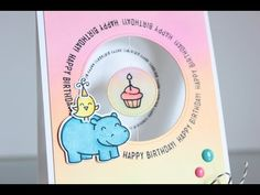 Little Crafty Pill: Spinning birthday card and blending with dye inks Birthday Tags, Happy Birthday Cards, Card Making Inspiration, Making Ideas, Happy Happy Happy, Spinner Card, Lawn Fawn Stamps, Interactive Cards, Paper Crafts