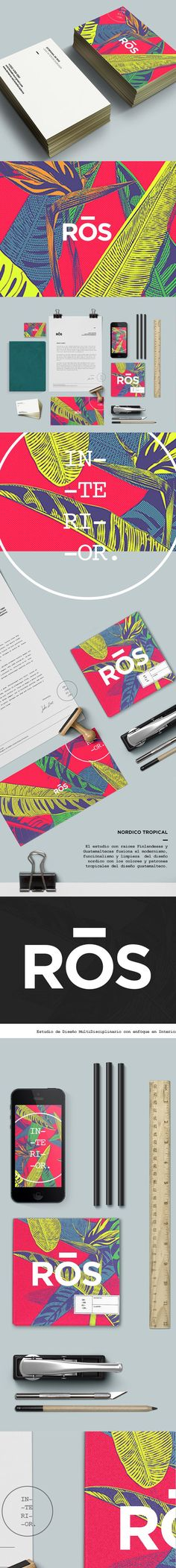 "Branding Concept for Ros Interior Design, Ros is a an Interior Design Studio based in Guatemala lead by Estefania de Ros and Gustavo Quintana. The Studio has a unique Style that se defines as ""Nordico Tropical"" a fusion between the Modernism and Functionalism of Nordic Desing, with the Colorful Tropical Influence of Guatemalan Design, Ros projects are a mixture of quirkyness and Elegance that range from Interior, Furniture, Styling and Landscape Design #branding #identity"