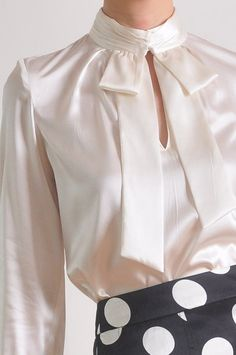 Luxury White Silk Satin Long Sleeves Bow Tie Blouse Shirt