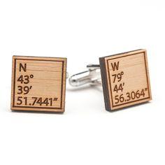 GPS Coordinates Wood Cufflinks