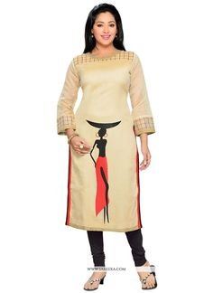 Be your distinct style diva with this beige chanderi party wear kurti. The ethnic print work with a dress adds a sign of magnificence statement for the look. (Slight variation in color, fabric & work . Kurti Neck Designs, Kurta Designs Women, Blouse Designs, African Wear Dresses, Indian Gowns Dresses, Stylish Blouse Design, Printed Kurti, Painted Clothes, Business Dresses