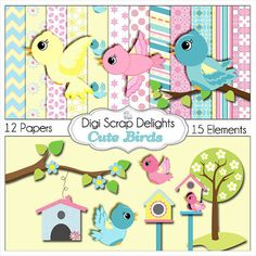 Cute Birds Clip Art  Scrapbook Kit  for Card Making by DigiScrapDelights