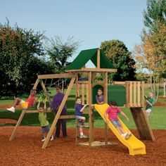 PlayStar Playsets Tradition Wooden Swing Set with Adventure Tunnel