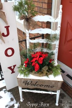 A Christmas welcome home chair for front porch. Cover in burlap, pinecones and sprigs of greenery. Top it off with a festive red bow.