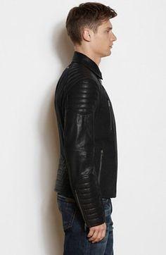 Faux Leather and Wool Moto Jacket - Armani Exchange