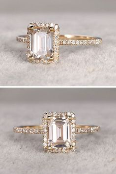 Never thought I'd like this cut, but I really do! Bague de Fiançailles - Tendance : 18 Eye-Catching Emerald Cut Engagement Rings ❤ See more: www. Emerald Cut Engagement, Halo Engagement Rings, Rectangle Engagement Rings, Engagement Jewelry, Emerald Cut Moissanite, Ring Verlobung, Beautiful Rings, Fashion Rings, Wedding Bands