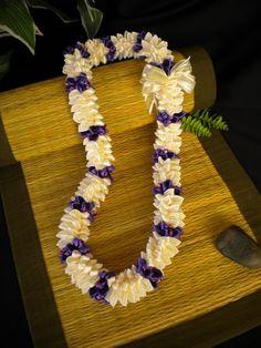 Tuberose Style Ribbon Lei - purple