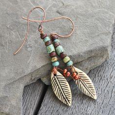 Primitive Feather Earrings - Carved bone feather - festival earrings, fiber earrings, rustic earrings, boho earrings, waxed linen earrings by EveryBeadofMyArt on Etsy https://www.etsy.com/listing/267514941/primitive-feather-earrings-carved-bone