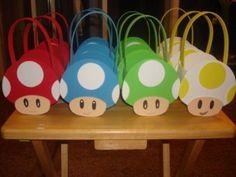 Festa Super Mario - Ideia de lembrancinhas do Super Mario - Sacola cogumelo