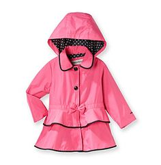 Product: London Fog® Girls 2T-6X Trench Coat with Polka-Dot Hood