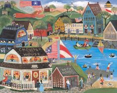 Folk Art Prints | SUMMERTIME SPIRIT SEASIDE VILLAGE FOLK ART PRINT 8x10