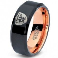 Black Tungsten Ring with Beveled Edge 8mm Tungsten Wedding Band Oakland Raiders Ring Oakland Raiders Wedding Band