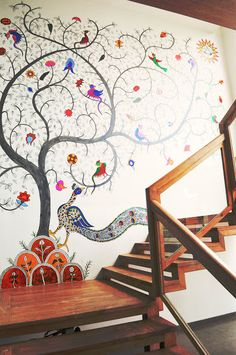Stairways are one of the best spots in a home for decoration. Hence, here are some Stylish Stair Wall Decoration Designs And Ideas from which you can choose Madhubani Painting, Madhubani Art, Stair Walls, Indian Interiors, Ethnic Decor, Tadelakt, Deco Originale, Mural Wall Art, Wall Installation