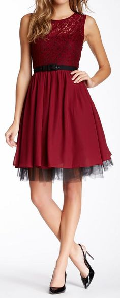 Merlot Lace Tulle Dress