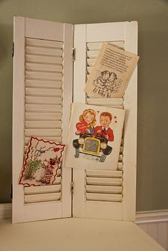 """Making """"Vintage"""" Valentine Cards. I want to hang one of these on my wall for displaying cards year round! Love that!"""