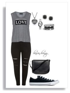 """Love, one size fits all"" by hinson-hunny ❤ liked on Polyvore featuring Carmakoma, Converse, Mansur Gavriel, GUESS, Nixon and Mark Broumand"