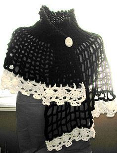 Asymmetrical Capelet With a skull Border. Directions include how to make it one length. I used most one full skein of Red Heart Super Saver ...