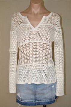 $169 NWT ANTONIO MELANI Ivory Boho Gypsy Crocheted Crochet Knit Sweater sz S XS #AntonioMelani #VNeck